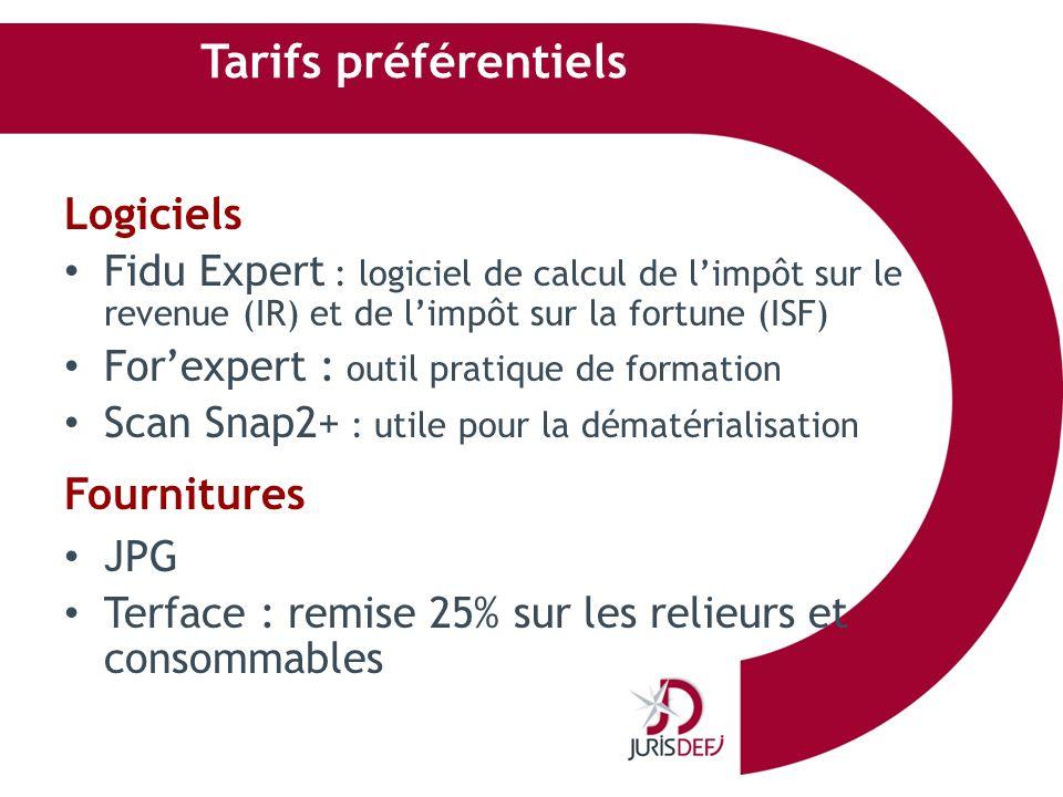 Tarifs préférentiels Logiciels Fidu Expert : logiciel de calcul de limpôt sur le revenue (IR) et de limpôt sur la fortune (ISF) Forexpert : outil prat