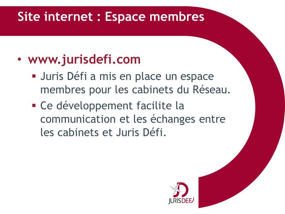 Site internet : Espace membres www.jurisdefi.com Juris Défi a mis en place un espace membres pour les cabinets du Réseau. Ce développement facilite la
