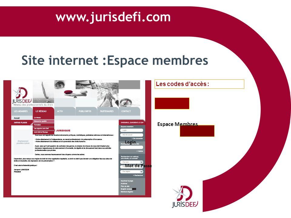 www.jurisdefi.com Site internet :Espace membres Les codes daccès : Espace Membres Login Mot de Passe