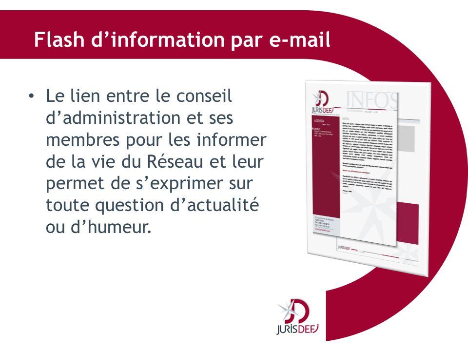Flash dinformation par e-mail Le lien entre le conseil dadministration et ses membres pour les informer de la vie du Réseau et leur permet de sexprime