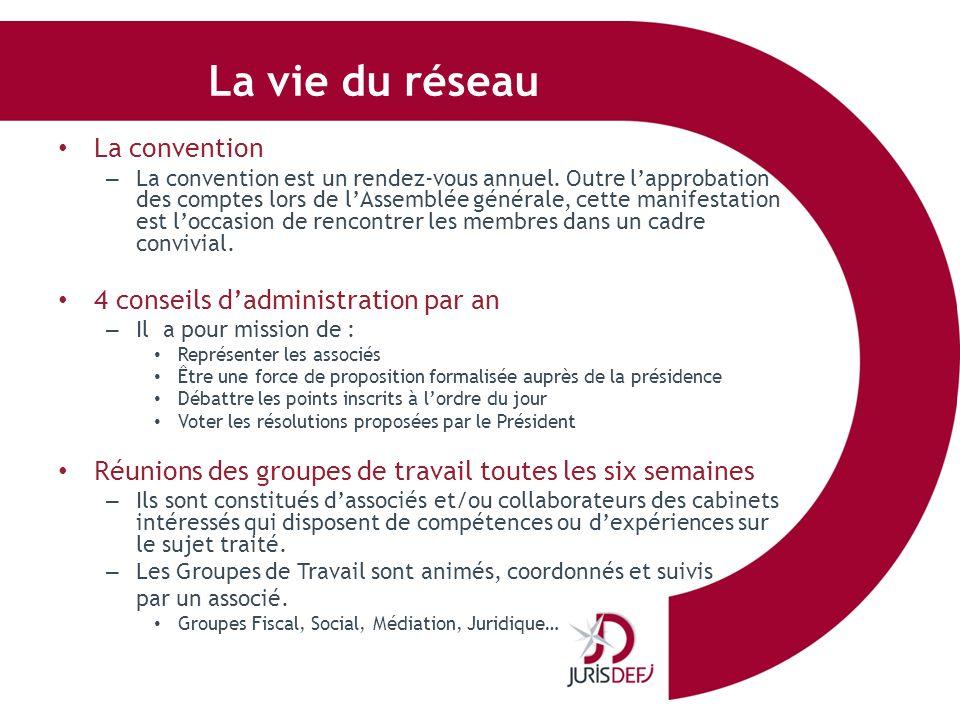 La vie du réseau La convention – La convention est un rendez-vous annuel. Outre lapprobation des comptes lors de lAssemblée générale, cette manifestat