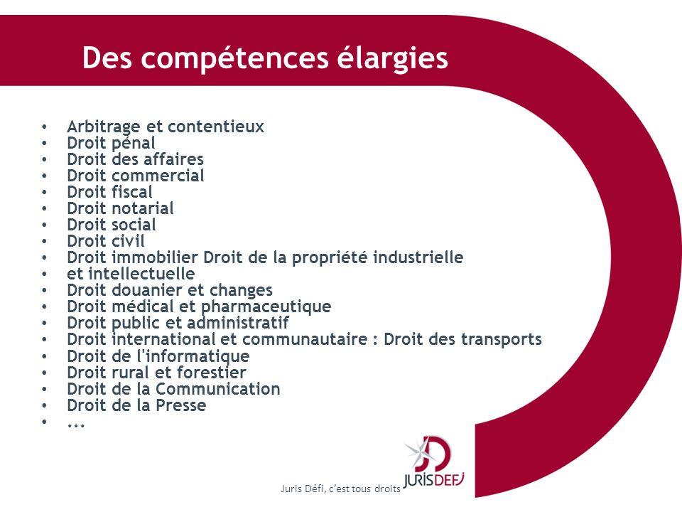 Des compétences élargies Juris Défi, cest tous droits Arbitrage et contentieux Droit pénal Droit des affaires Droit commercial Droit fiscal Droit nota