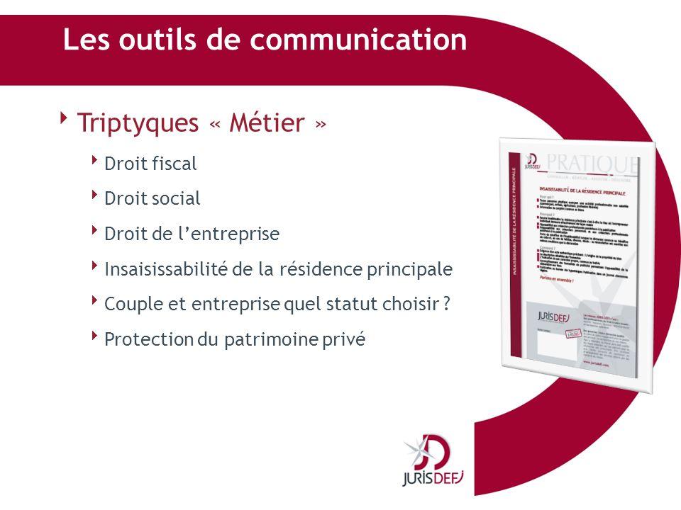 Les outils de communication Triptyques « Métier » Droit fiscal Droit social Droit de lentreprise Insaisissabilité de la résidence principale Couple et