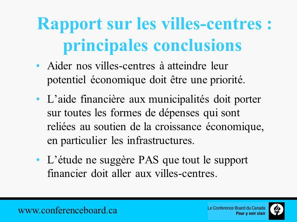 www.conferenceboard.ca Rapport sur les villes-centres : principales conclusions Aider nos villes-centres à atteindre leur potentiel économique doit êt