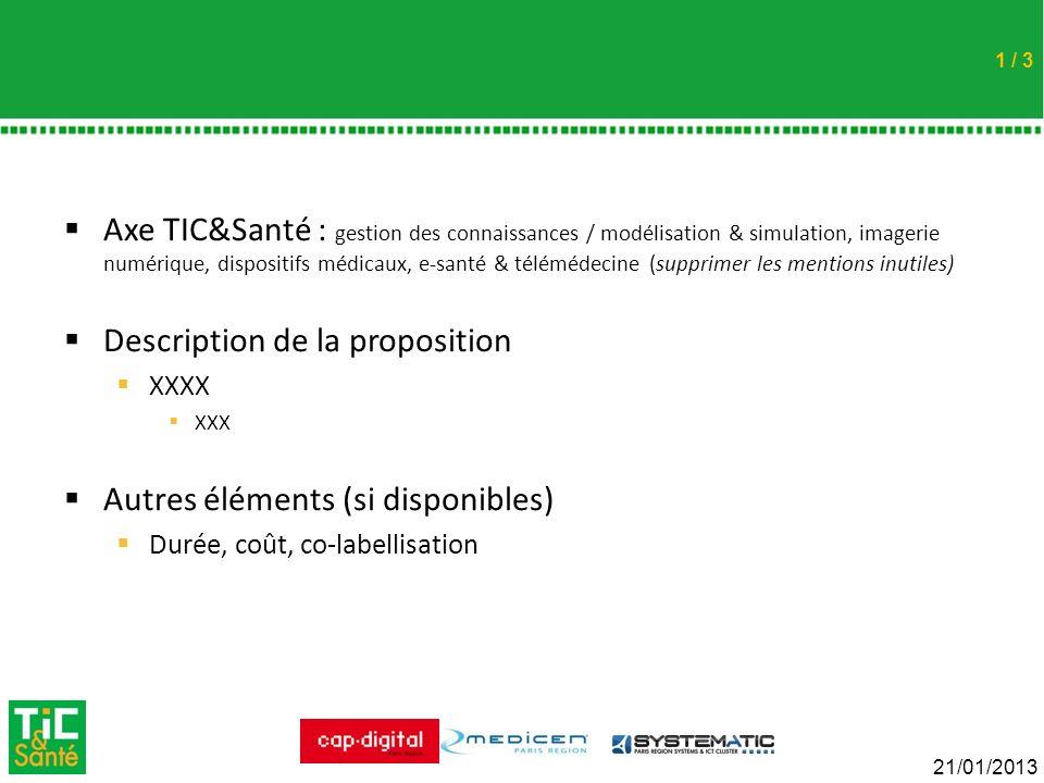 Cliquez pour modifier le style du titre 21/01/2013 / 3 Axe TIC&Santé : gestion des connaissances / modélisation & simulation, imagerie numérique, disp
