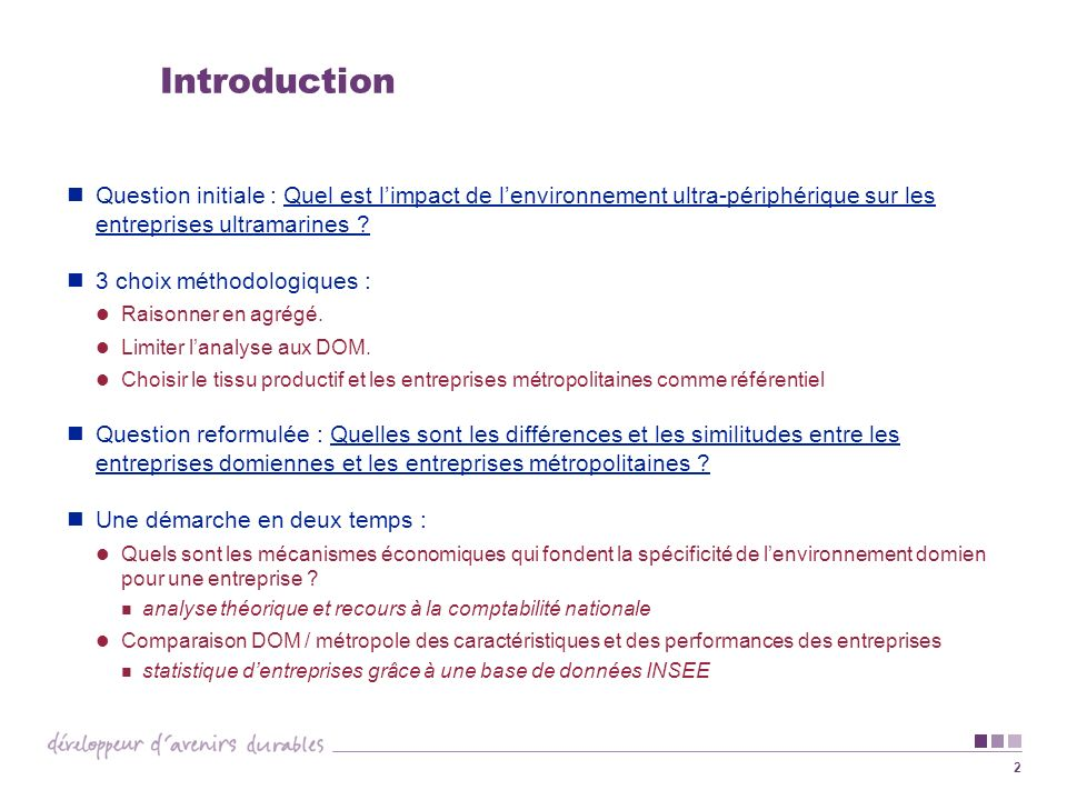 2 Introduction Question initiale : Quel est limpact de lenvironnement ultra-périphérique sur les entreprises ultramarines ? 3 choix méthodologiques :
