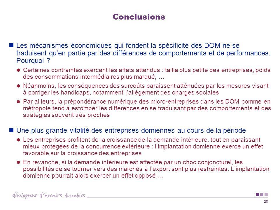 28 Conclusions Les mécanismes économiques qui fondent la spécificité des DOM ne se traduisent quen partie par des différences de comportements et de p