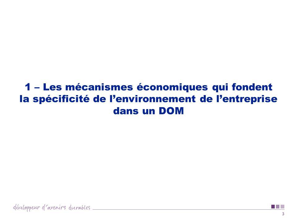 3 1 – Les mécanismes économiques qui fondent la spécificité de lenvironnement de lentreprise dans un DOM