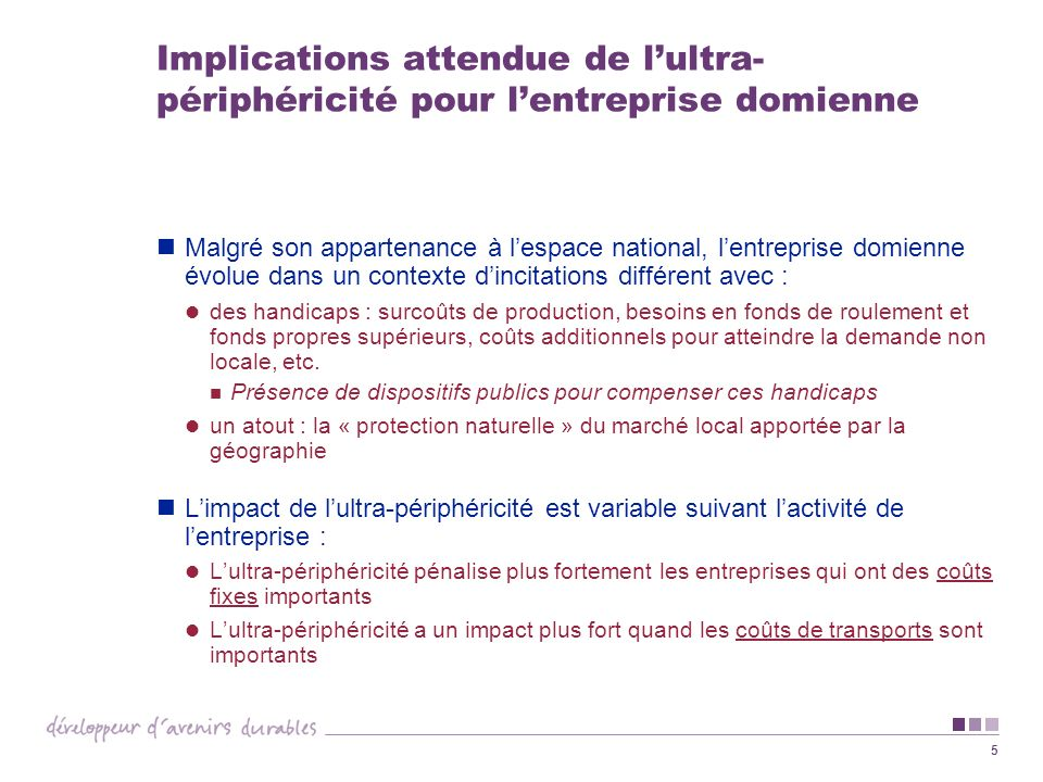 5 Implications attendue de lultra- périphéricité pour lentreprise domienne Malgré son appartenance à lespace national, lentreprise domienne évolue dan