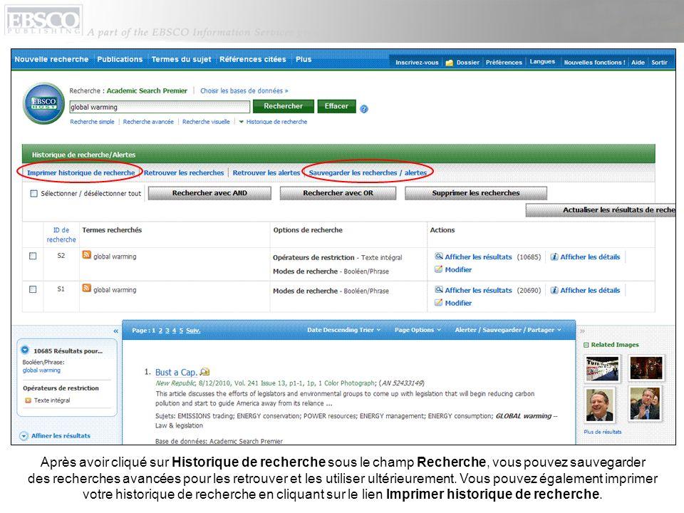 Vous pouvez configurer un avis de publication sur la page Détails de publication de la plupart des revues présentes dans la base de données dans laquelle vous effectuez votre recherche.
