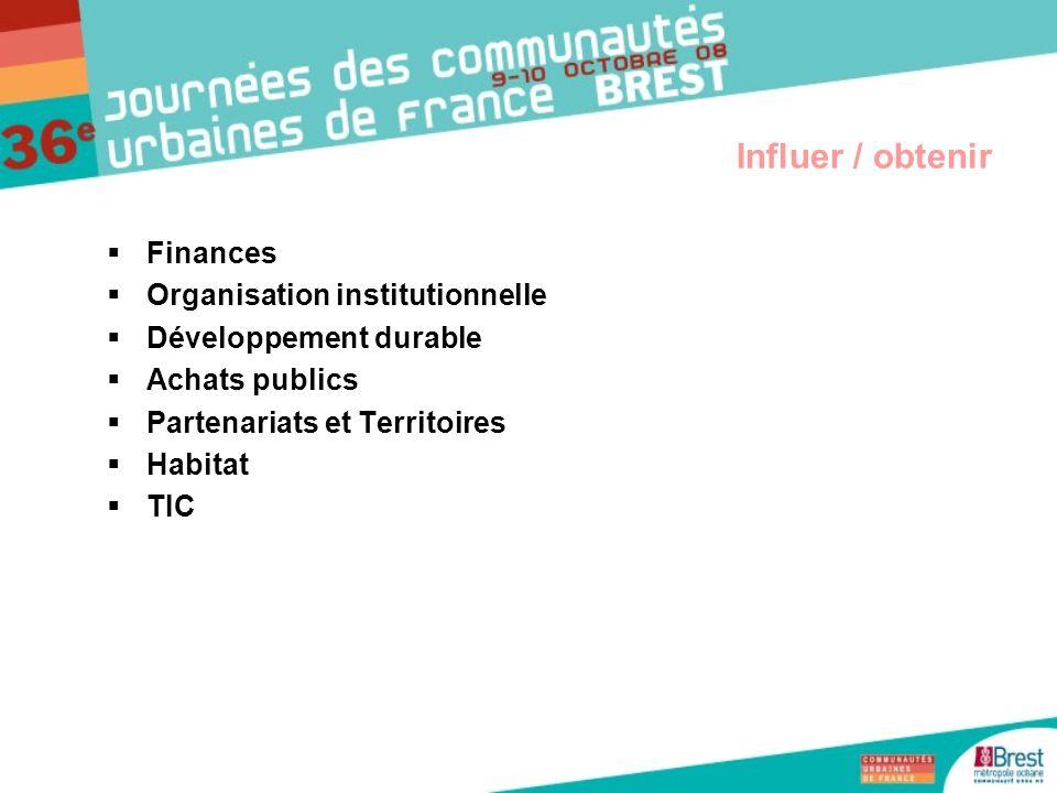 Finances Organisation institutionnelle Développement durable Achats publics Partenariats et Territoires Habitat TIC Influer / obtenir