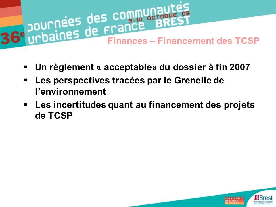 Un règlement « acceptable» du dossier à fin 2007 Les perspectives tracées par le Grenelle de lenvironnement Les incertitudes quant au financement des