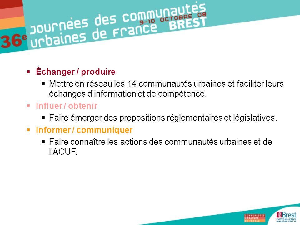 Échanger / produire Mettre en réseau les 14 communautés urbaines et faciliter leurs échanges dinformation et de compétence. Influer / obtenir Faire ém