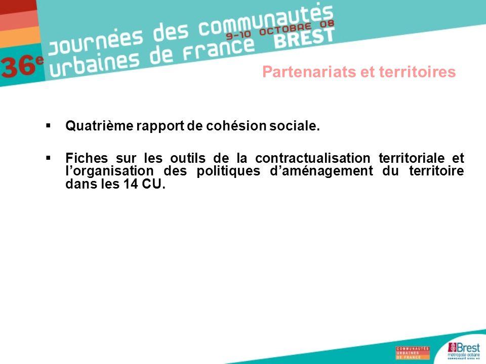 Quatrième rapport de cohésion sociale. Fiches sur les outils de la contractualisation territoriale et lorganisation des politiques daménagement du ter