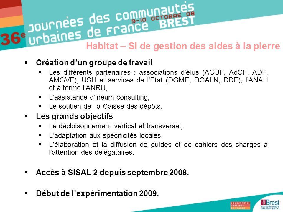 Création dun groupe de travail Les différents partenaires : associations délus (ACUF, AdCF, ADF, AMGVF), USH et services de lEtat (DGME, DGALN, DDE),