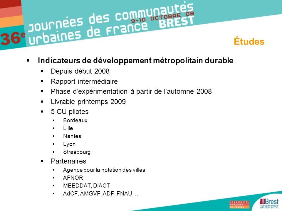 Indicateurs de développement métropolitain durable Depuis début 2008 Rapport intermédiaire Phase dexpérimentation à partir de lautomne 2008 Livrable p