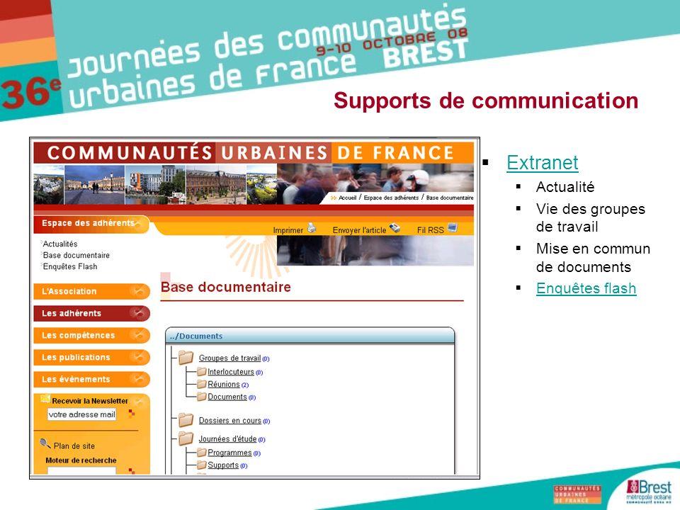 Extranet Actualité Vie des groupes de travail Mise en commun de documents Enquêtes flash Supports de communication