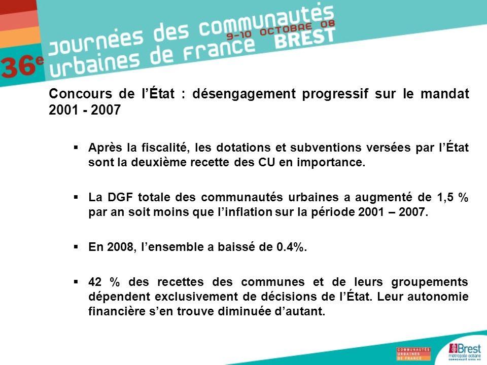 Concours de lÉtat : désengagement progressif sur le mandat 2001 - 2007 Après la fiscalité, les dotations et subventions versées par lÉtat sont la deux
