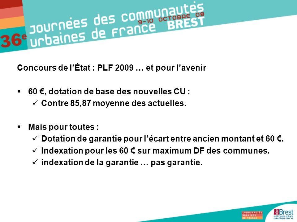 Concours de lÉtat : PLF 2009 … et pour lavenir 60, dotation de base des nouvelles CU : Contre 85,87 moyenne des actuelles. Mais pour toutes : Dotation