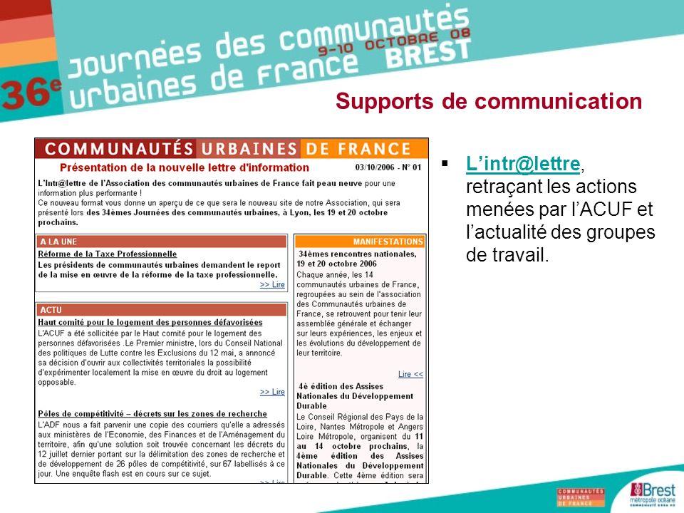 Lintr@lettre, retraçant les actions menées par lACUF et lactualité des groupes de travail. Lintr@lettre Supports de communication
