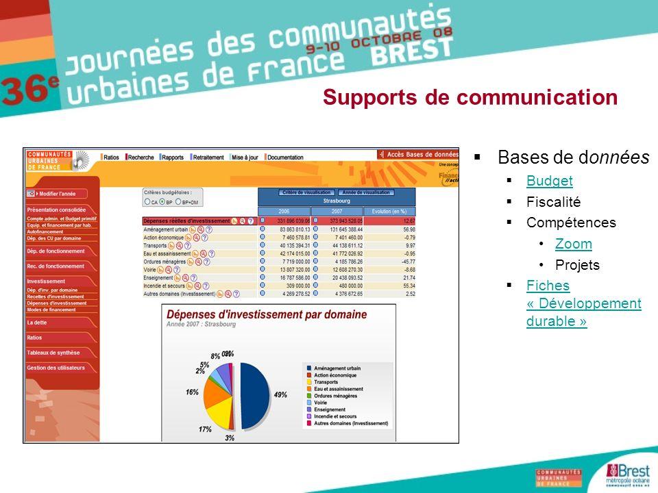 Bases de données Budget Fiscalité Compétences Zoom Projets Fiches « Développement durable » Fiches « Développement durable » Supports de communication