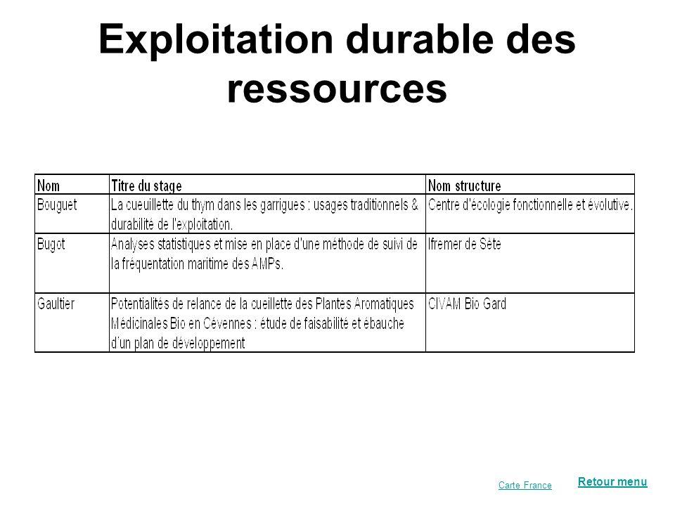 Exploitation durable des ressources Retour menu Carte France