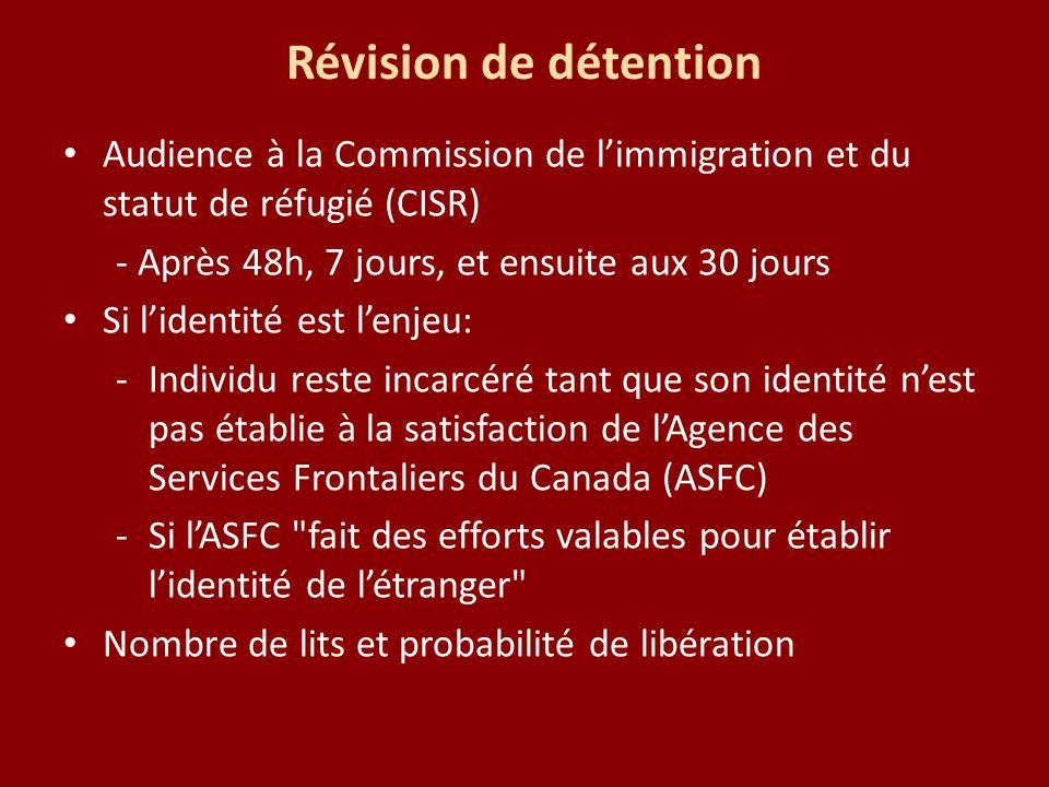 Révision de détention Audience à la Commission de limmigration et du statut de réfugié (CISR) - Après 48h, 7 jours, et ensuite aux 30 jours Si lidenti
