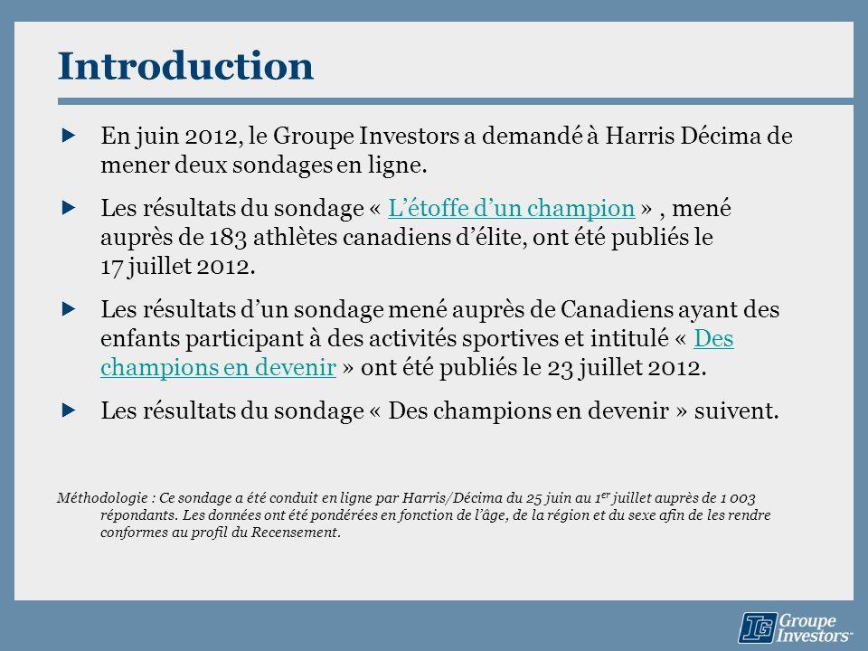 Introduction En juin 2012, le Groupe Investors a demandé à Harris Décima de mener deux sondages en ligne. Les résultats du sondage « Létoffe dun champ