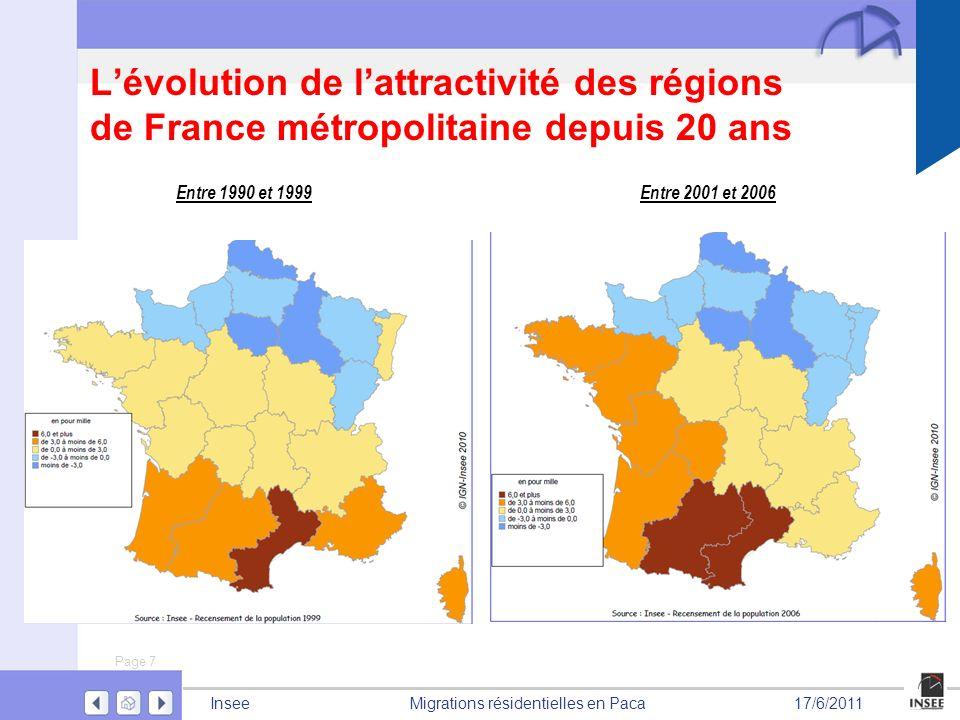 Page 7 Migrations résidentielles en PacaInsee17/6/2011 Lévolution de lattractivité des régions de France métropolitaine depuis 20 ans Entre 1990 et 19