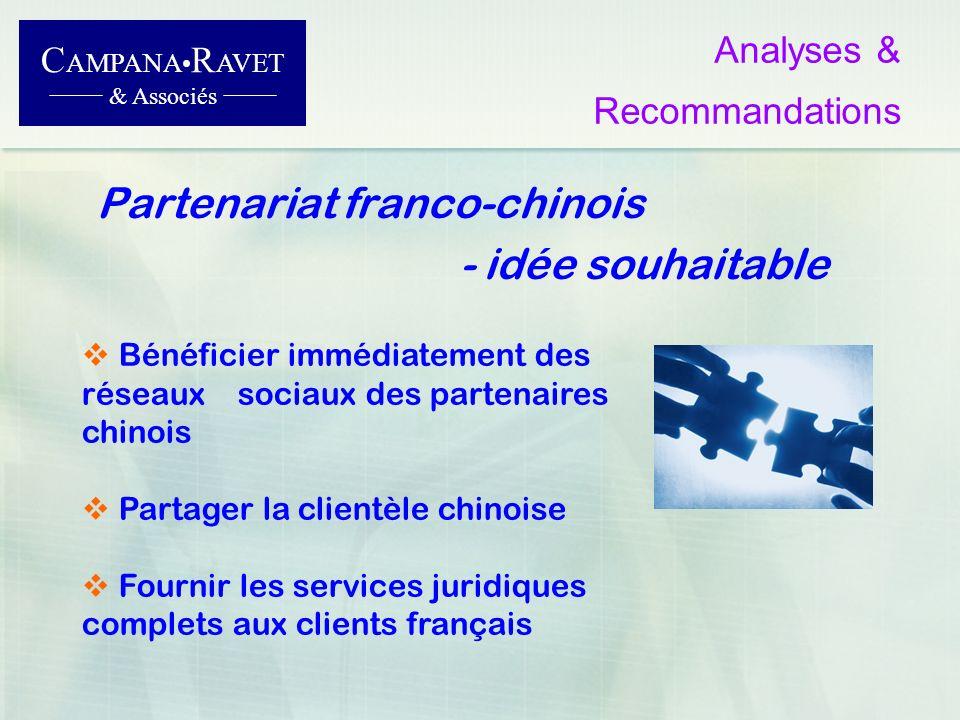 Partenariat franco-chinois - idée souhaitable C AMPANA R AVET & Associés Analyses & Recommandations Bénéficier immédiatement des réseaux sociaux des p