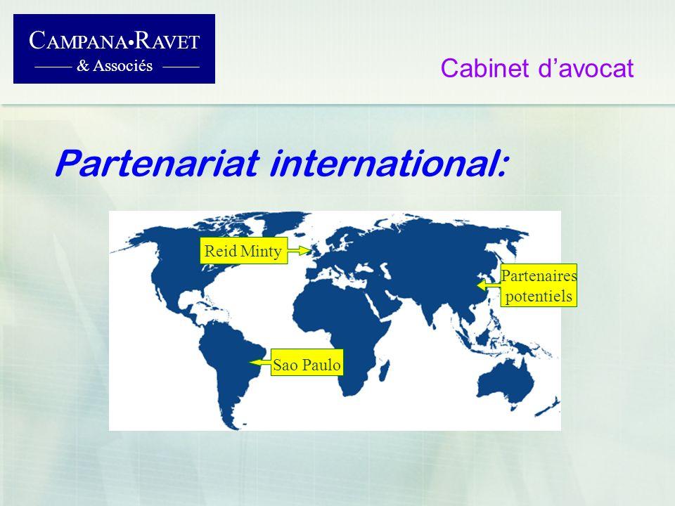 C AMPANA R AVET & Associés Cabinet davocat Partenariat international: Sao Paulo Reid Minty Partenaires potentiels