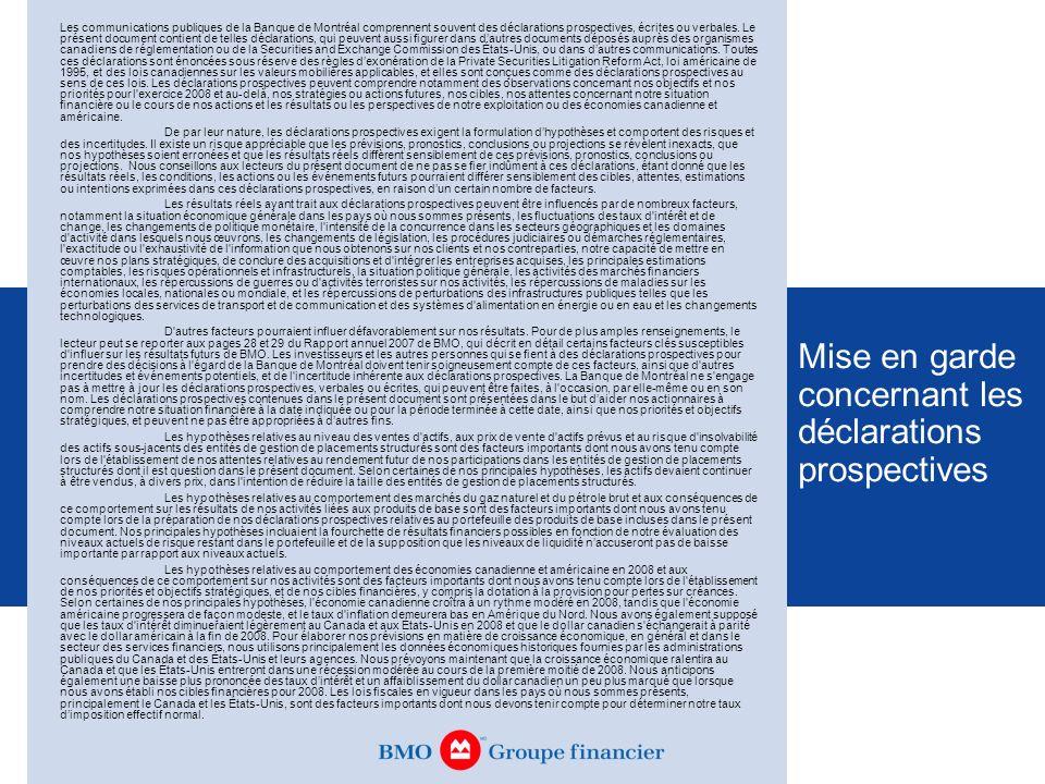 Les communications publiques de la Banque de Montréal comprennent souvent des déclarations prospectives, écrites ou verbales. Le présent document cont