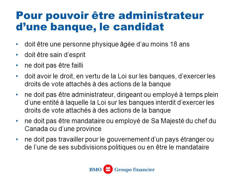 Pour pouvoir être administrateur dune banque, le candidat doit être une personne physique âgée dau moins 18 ans doit être sain desprit ne doit pas êtr