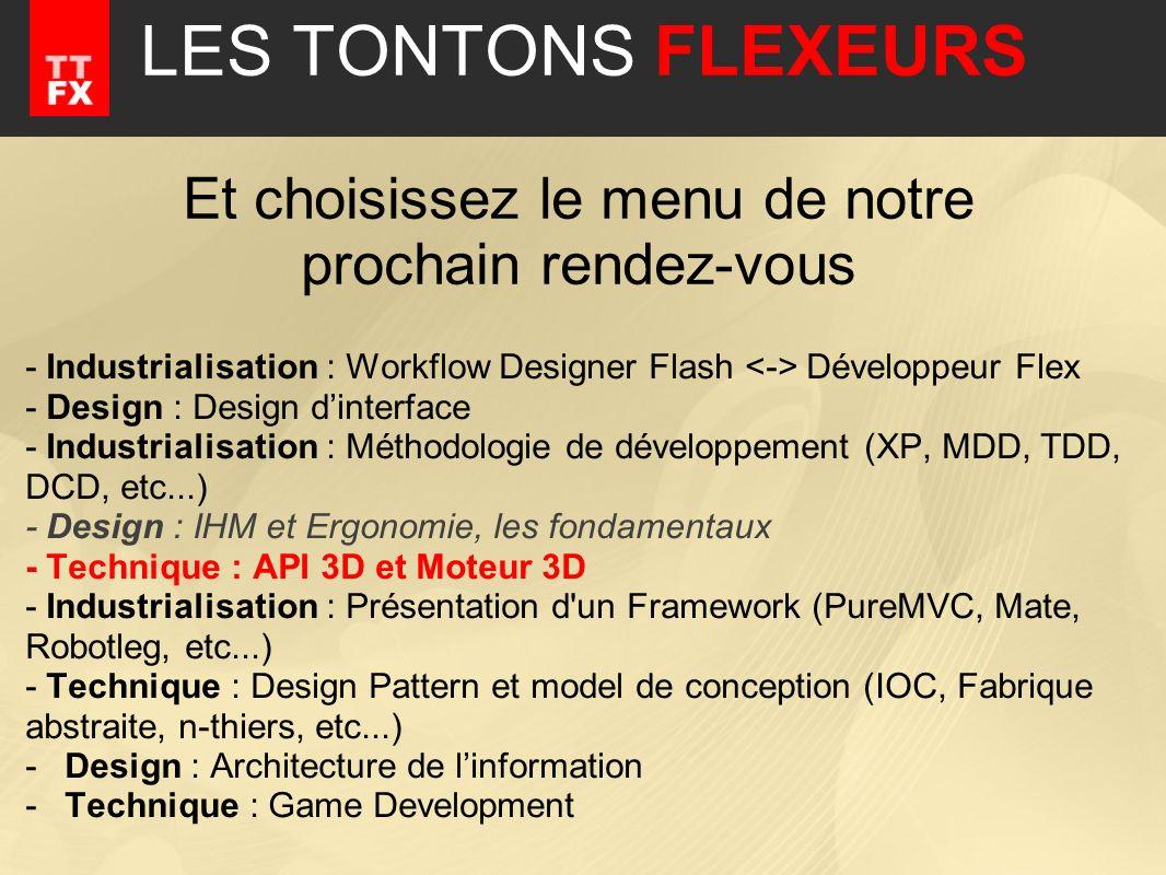 - Industrialisation : Workflow Designer Flash Développeur Flex - Design : Design dinterface - Industrialisation : Méthodologie de développement (XP, M