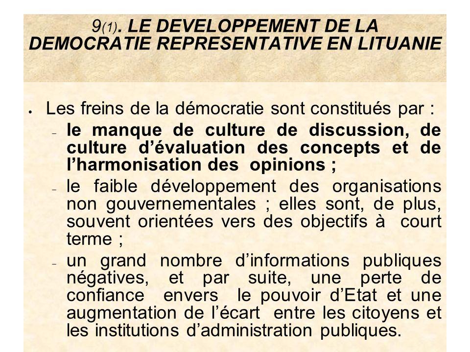 9 (1). LE DEVELOPPEMENT DE LA DEMOCRATIE REPRESENTATIVE EN LITUANIE Les freins de la démocratie sont constitués par : le manque de culture de discussi