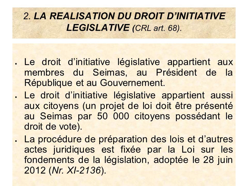 2. LA REALISATION DU DROIT DINITIATIVE LEGISLATIVE (CRL art. 68). Le droit dinitiative législative appartient aux membres du Seimas, au Président de l