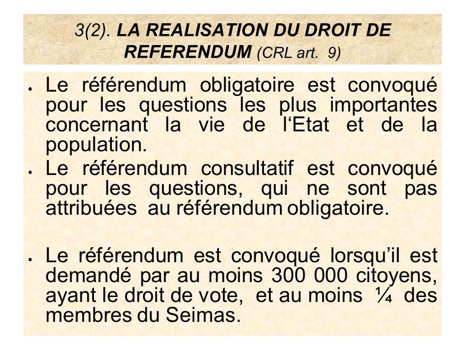 4(1).LA REALISATION DU DROIT DE PETITION ( CRL art.