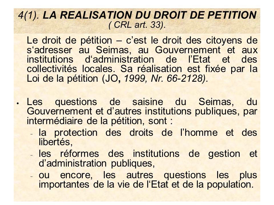 4(1). LA REALISATION DU DROIT DE PETITION ( CRL art. 33). Le droit de pétition – cest le droit des citoyens de sadresser au Seimas, au Gouvernement et