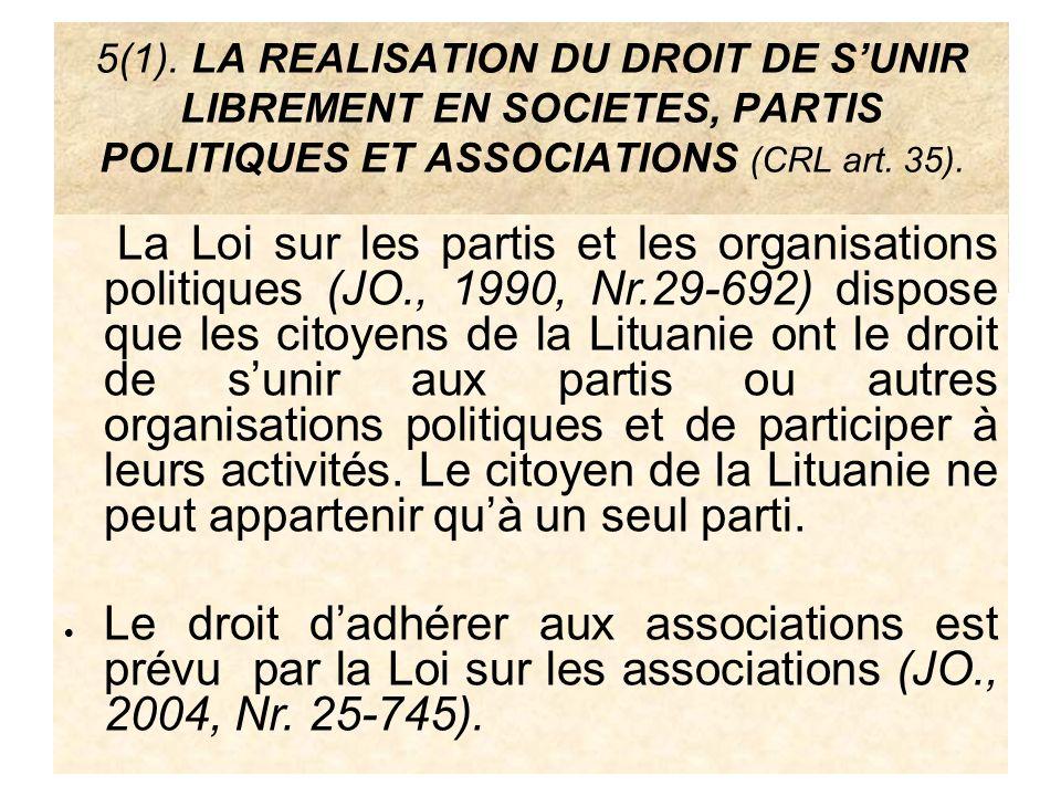 5(1). LA REALISATION DU DROIT DE SUNIR LIBREMENT EN SOCIETES, PARTIS POLITIQUES ET ASSOCIATIONS (CRL art. 35). La Loi sur les partis et les organisati