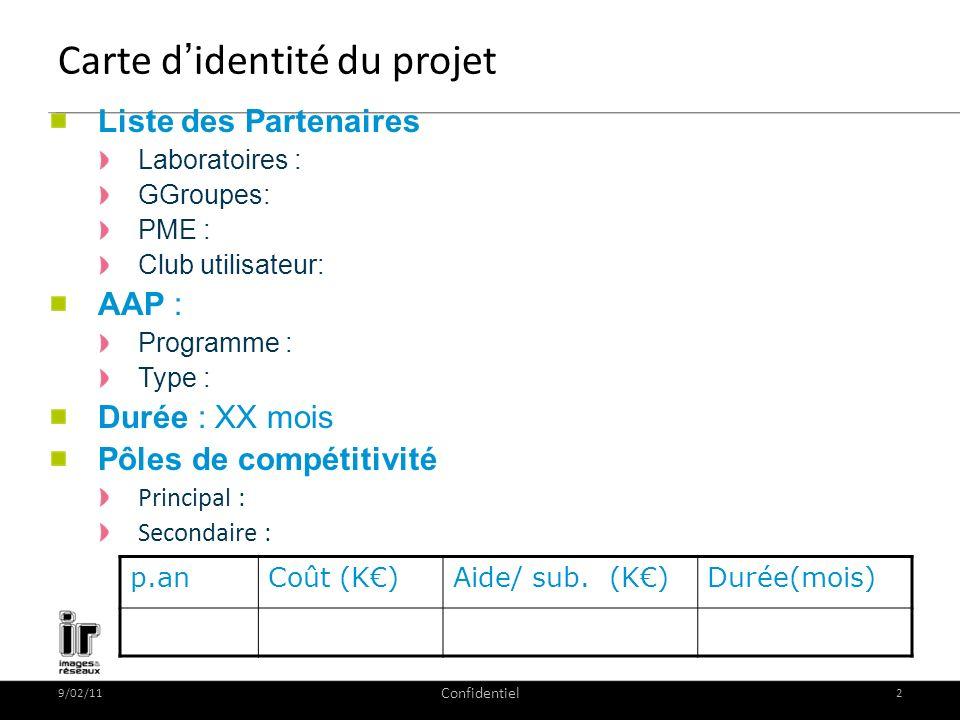 9/02/11 Confidentiel 2 Carte didentité du projet Liste des Partenaires Laboratoires : GGroupes: PME : Club utilisateur: AAP : Programme : Type : Durée : XX mois Pôles de compétitivité Principal : Secondaire : p.anCoût (K)Aide/ sub.