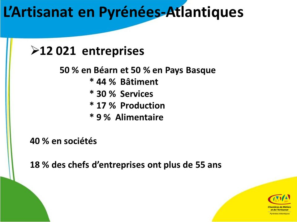 12 021 entreprises 50 % en Béarn et 50 % en Pays Basque * 44 % Bâtiment * 30 % Services * 17 % Production * 9 % Alimentaire 40 % en sociétés 18 % des chefs dentreprises ont plus de 55 ans LArtisanat en Pyrénées-Atlantiques