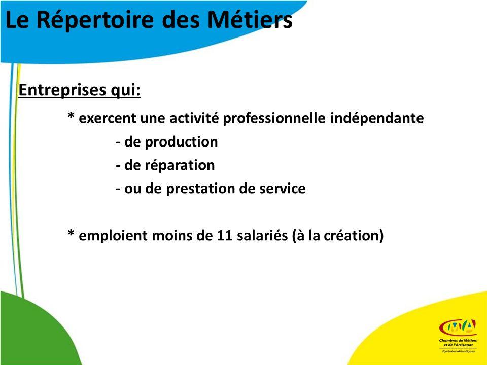 Entreprises qui: * exercent une activité professionnelle indépendante - de production - de réparation - ou de prestation de service * emploient moins de 11 salariés (à la création) Le Répertoire des Métiers