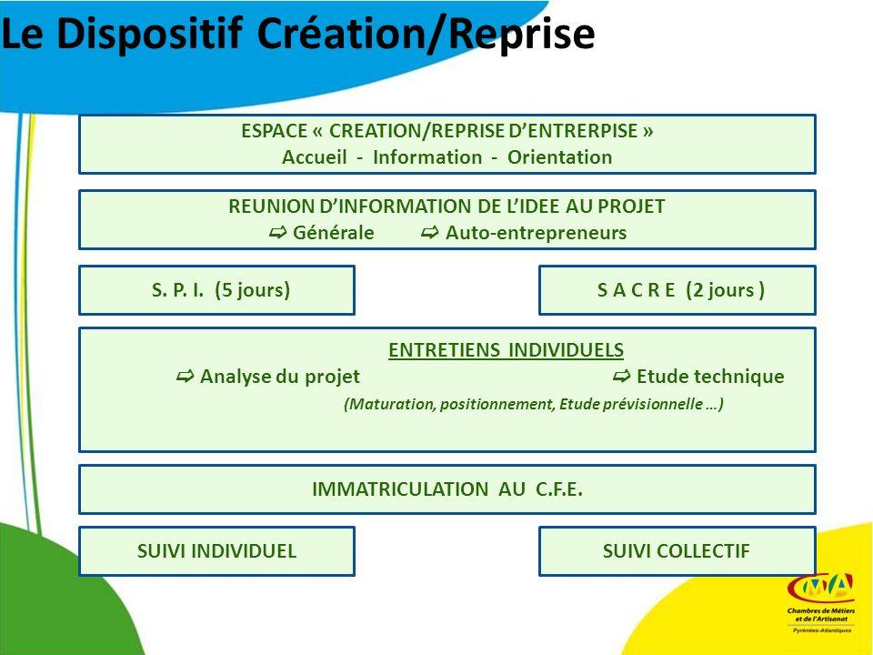 Le Dispositif Création/Reprise ESPACE « CREATION/REPRISE DENTRERPISE » Accueil - Information - Orientation REUNION DINFORMATION DE LIDEE AU PROJET Générale Auto-entrepreneurs S.