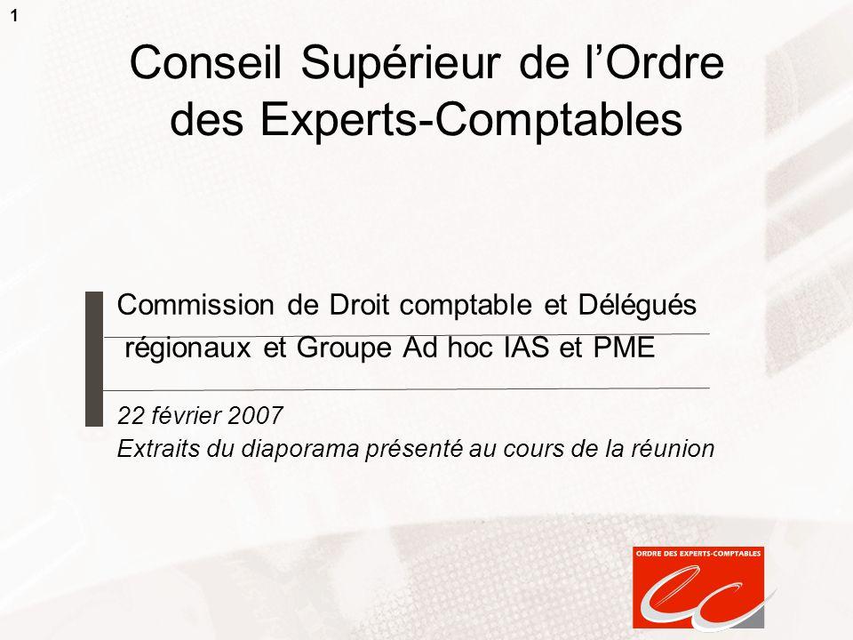 1 Conseil Supérieur de lOrdre des Experts-Comptables Commission de Droit comptable et Délégués régionaux et Groupe Ad hoc IAS et PME 22 février 2007 E