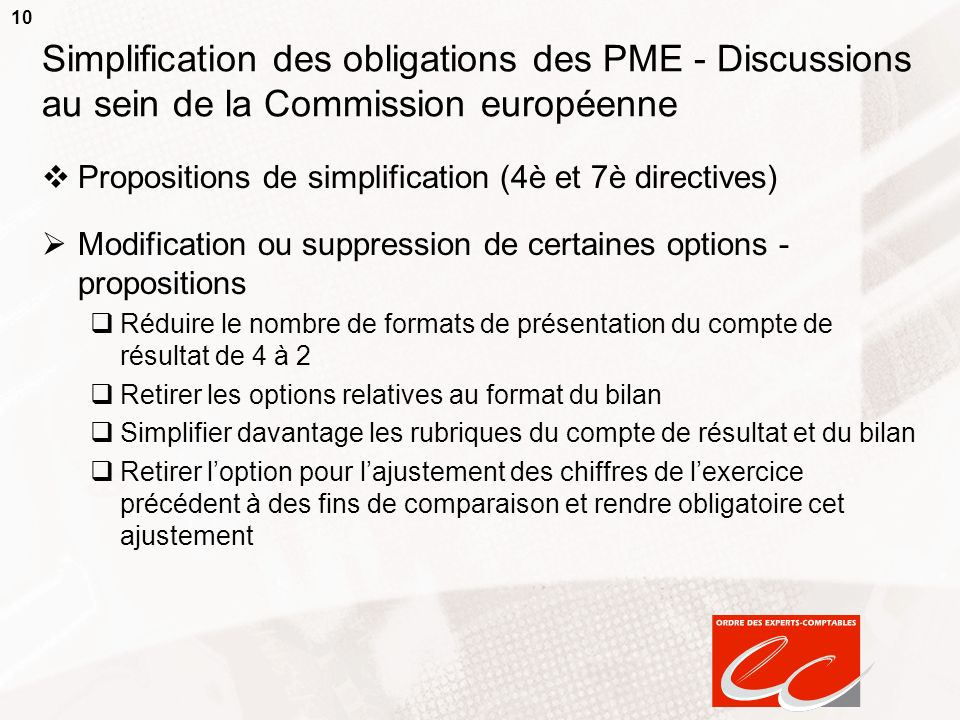 10 Simplification des obligations des PME - Discussions au sein de la Commission européenne Propositions de simplification (4è et 7è directives) Modif