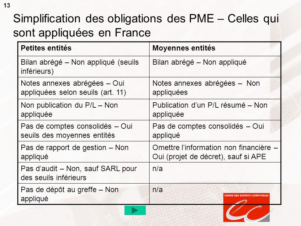 13 Simplification des obligations des PME – Celles qui sont appliquées en France Petites entitésMoyennes entités Bilan abrégé – Non appliqué (seuils i