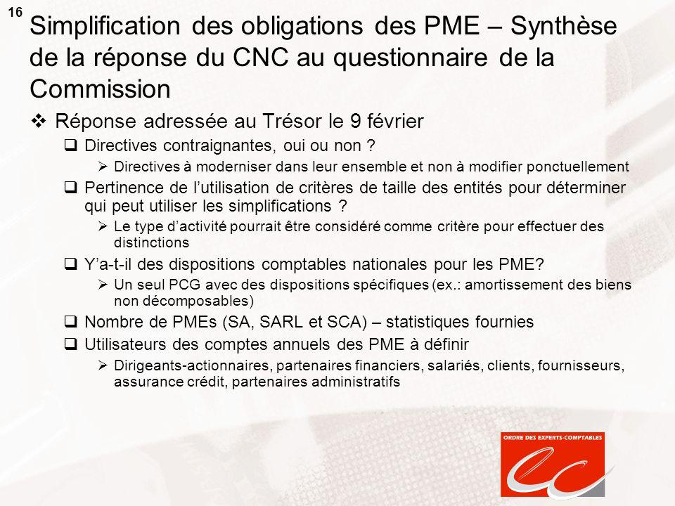 16 Simplification des obligations des PME – Synthèse de la réponse du CNC au questionnaire de la Commission Réponse adressée au Trésor le 9 février Di