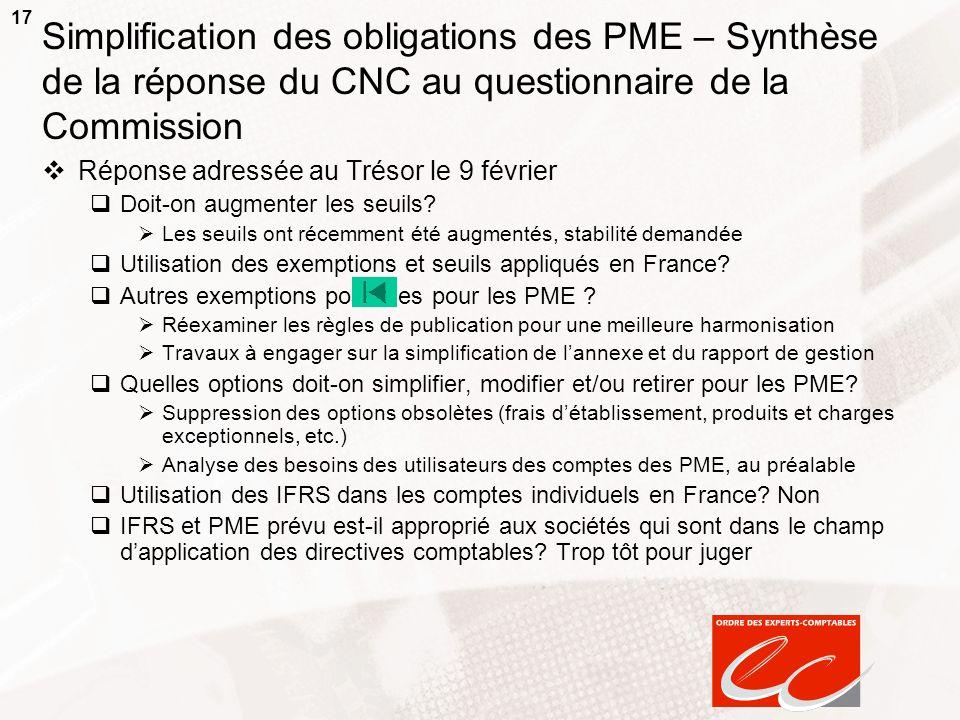 17 Simplification des obligations des PME – Synthèse de la réponse du CNC au questionnaire de la Commission Réponse adressée au Trésor le 9 février Do