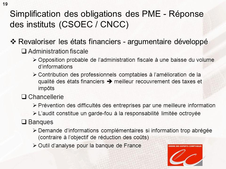 19 Simplification des obligations des PME - Réponse des instituts (CSOEC / CNCC) Revaloriser les états financiers - argumentaire développé Administrat