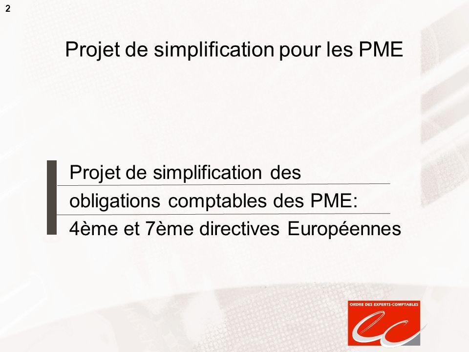2 Projet de simplification pour les PME Projet de simplification des obligations comptables des PME: 4ème et 7ème directives Européennes